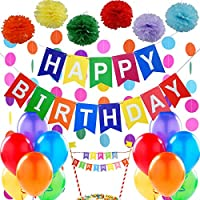 """Decoraciones Cumpleaños – 1 Bandera Banderines Feliz Cumpleaños """" Happy Birthday"""" + 6 Pompón Bola de Flor + Topper para Torta + 2 Guirnaldas Arco de Iris de 3 metros + 12 Globos Perlados"""