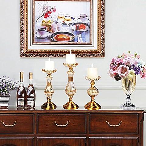 Candela di vetro cristallo romantico europeo/Hotel modello ottone candeliere centrotavola- L