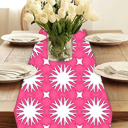 Baumwolle-poly-stoff (Snoogg Abstrakt Weiß Rosa Muster Modern Digital Muster Tischläufer Poly Baumwolle Leinwand gedruckt Stoff Tisch Top Dekoration Home Decor 27,9x 182,9cm)