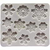 Funihut - Stampo in silicone a forma di fiocco di neve di Natale a forma di cioccolato, argilla, fondente