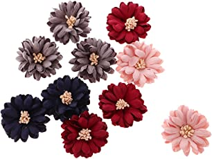 Segolike 10 Pieces Multicolor Sewing Fabric Flower Embellishment Applique Decoration for DIY Clothes Hair Bow #8