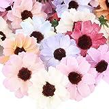 100pcs Têtes de Fleurs Artificielles Gerbera Marguerite Faux Fleur en Tissu Soie Décoration Scrapbooking pour Table Maison DI