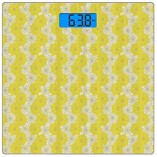 Precision Digital Body Weight Scale Gelb Ultra Slim Gehärtetes Glas Personenwaage Genaue Gewichtsmessungen, blühende Zierblumen in zwei Schattierungen Vintage Display Nostalgic Nature, Multicolor