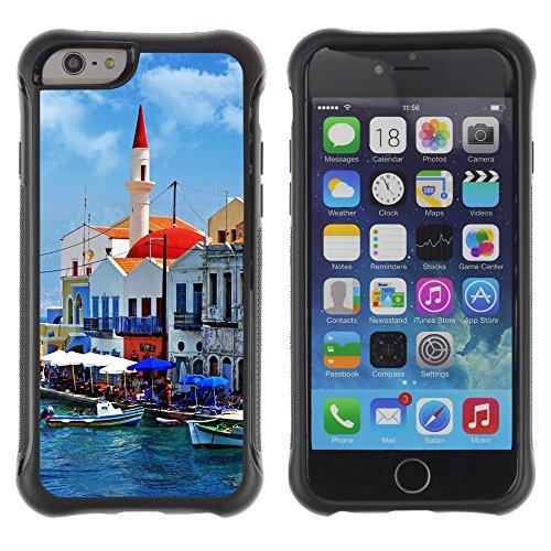 Graphic4You Beautiful Greece Corner Postkarte Ansichtskarte Design Shockproof Anti-Rutsch Weichen Hülle Case Tasche Schutzhülle für Apple iPhone 6 Plus / 6S Plus Design #6