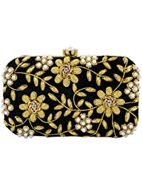 Tooba Hand Embroidered Box Clutch with Flower & leaf Work by Zardosi with Pearl and Stone on Elegant Velvet Imported Texture Specially Designed for Women & Girls in Parties/Wedding/festivals/Casual and special evenings.