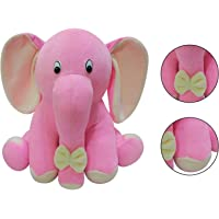 Msfi Soft Push Imported Fabric Siting Stuffed Elephant Animals in Pink Color Size Height 22 Centimetre