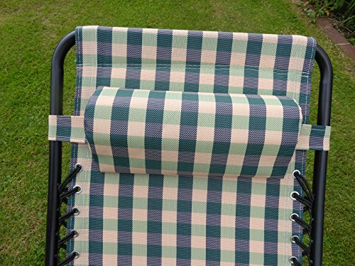 UK Gardens Set of 2 Green Check Gravity Recliners