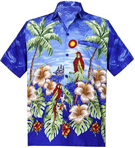 f07c3c0ce4685  La Leela  Aloha Manches Courtes Likre Beachwear hawaïennes Mens Bleu Camp  Chemise Royale L