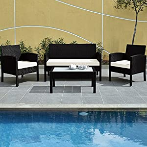 61ss4iyoK2L. SS300  - Deuba Poly Rattan Garden Furniture Set Outdoor Patio Balcony Set Colour Choice (Black Aluminium Frame)