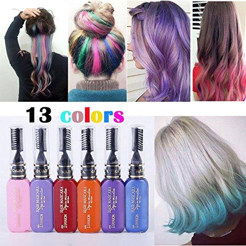 13 Farben DIY Langlebige Temporäre Schimmer Haar Farben Creme mit Kämme Haare Färben Kreide Haartönungen (Dye Temporäre Haar-spray)