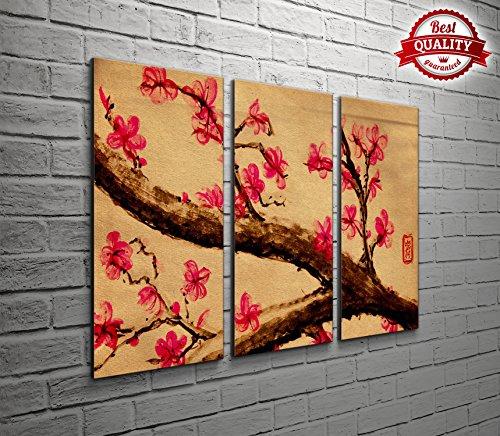 Giapponese Ciliegia-3Panel Wall Art per il soggiorno o camera da