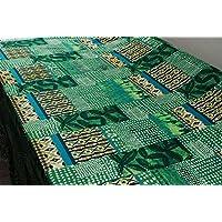 Tessuto al metro: Raso di cotone fantasia etnica (Tessuto Raso Verde)
