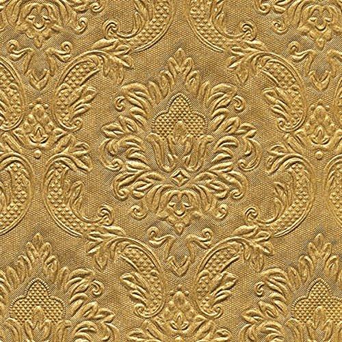 Servietten Serviette 25x25 cm gold glänzend mit hochgestanzten Ornamenten Elegance
