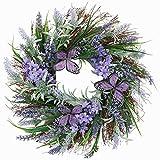 Valery Madelyn Künstliche Lavendel Blumenkranz mit Schmetterling groß Ø 45cm Türkranz Wandkranz Osterdeko Frühlingsdeko, Kunstblumendeko für Zuhause, Parties, Türen, Hochzeiten MEHRWEGVERPACKUNG