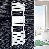 iBathUK | 1200 x 450 White Flat Panel Heated Towel Rail Bathroom Radiator - All Sizes