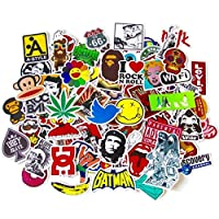 BestMall 100 Pcs Black White Vinyl Sticker Graffiti Decal Perfect to Laptops, Skateboards, Luggage, Cars, Bumpers, Bikes, Motorcycle, Helmet, Window, Guitar, Snowboard, Cellphone