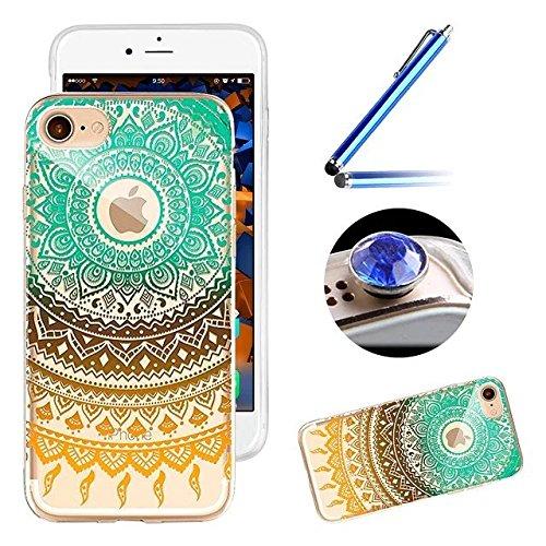 Etsue Silikon Schutz HandyHülle für iPhone 6 Plus/6S Plus (5.5 Zoll) TPU Muster, [Tribal Henna Mandala Blume] Einzigartig Malerei Muster Durchsichtig Silikon Handytasche Ultradünnen Weiche Transparent Mandala Floral,Blau Golden#