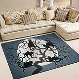 yibaihe Katzen in der Baumstamm bedruckt Große Fläche Teppiche, leicht rutschfeste Boden Teppich Nutzung für Wohnzimmer Schlafzimmer Home Deck, 160x 122cm