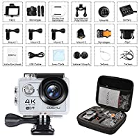 COOAU 4K Action Camera Waterproof Sport Cam Wi-Fi Helmet Camera 30m Underwater Camcorder, 170°Wide Angle, 1050mAh Battery, 20 Accessories Kit for Bike Motorcycle Surfing Diving Swimming Skiing Climbing, Silver