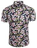 Coofandy Herren Sommer Hemd Kurzarm Hawaiihemd Hawaiishirt Freizeithemd Urlaub Hawaii-Print Dunkelblau S