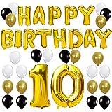 KUNGYO Letras Tipo Balón Doradas Happy Birthday+Número 10 Mylar Foil Globo+24 Piezas Negro Oro Blanco Globo de Látex 10 Años de Antigüedad Fiesta de Cumpleaños Decoraciones
