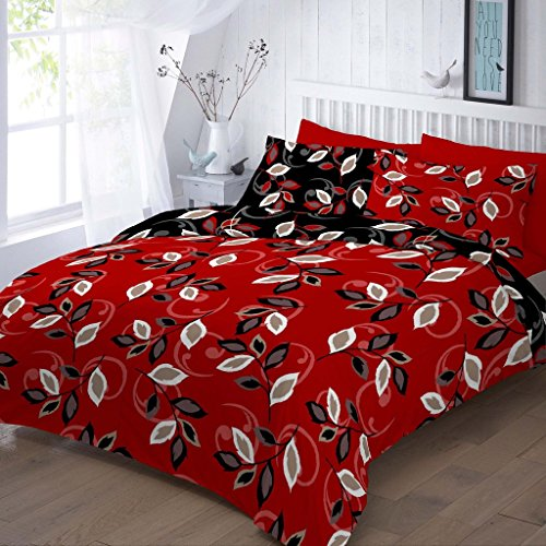 Duvet Cover Set King Size Kingsize With Pillowcases Quilt Bedding Set Reversible Poly Cotton, Grace Red