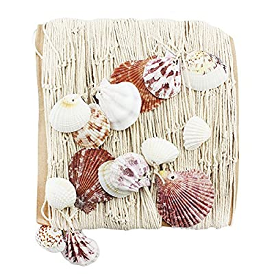 Com-Four® Sea Fishing Net with Shells for Decoration, 1 m x 2 m – Seaside Feeling For Your Home by COM-FOUR®