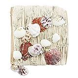 com-four® Fischnetz mit Muscheln zur Dekoration, Meeresfeeling für Ihre Wohnung, 1 x 2 m (01 Stück - Netz)