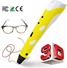 REES52 3D-Printing Pen for 3D Drawing, Doodling, Arts, Crafts (Yellow)