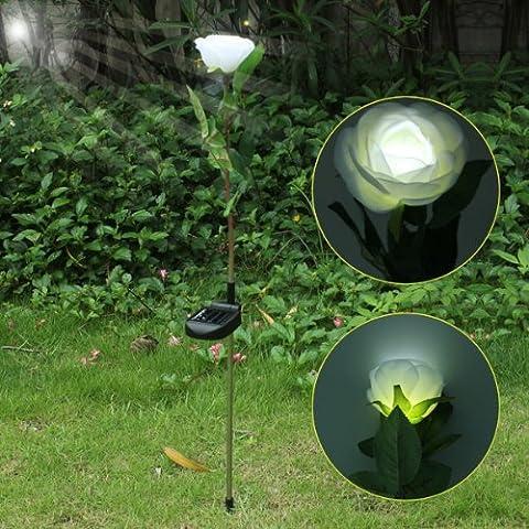 Water & Wood White Solar Power LED Rose Flower Light Lawn Lamp Outdoor Garden Landscape Waterproof