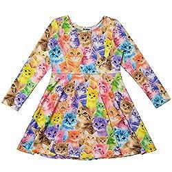 Jxstar Little Girl's Classical Animals Cartoon Cat Long Sleeve Dress