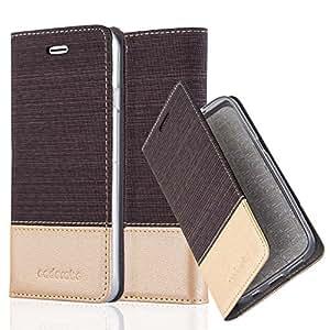 Cadorabo - Custodia Book Style per Apple iPhone 6 / 6S Design Tessuto - Similpelle con Chiusura Magnetica Invisible, Supporto Funzione e Vani di Carte - Etui Case Cover Involucro Bumper in ANTRACITE-ORO