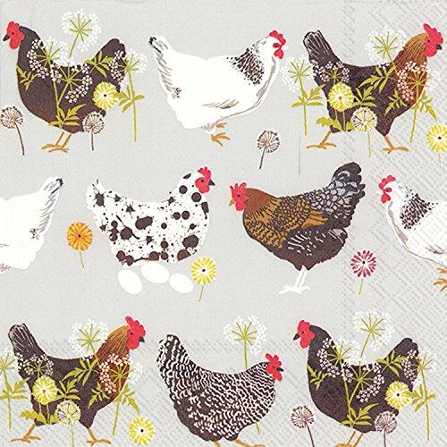 �Zählen Dampfender Hühner Grau Papier Cocktail Servietten ()