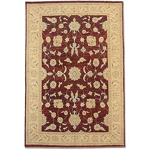 Agra rettangolare realizzato a mano, in lana, rosso scuro, 251