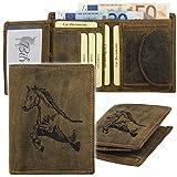 GreenBurry Geldbörse mit Tier-Motiv aus Rind-Leder Scheintasche Geldbeutel 1701 Pferd Horse