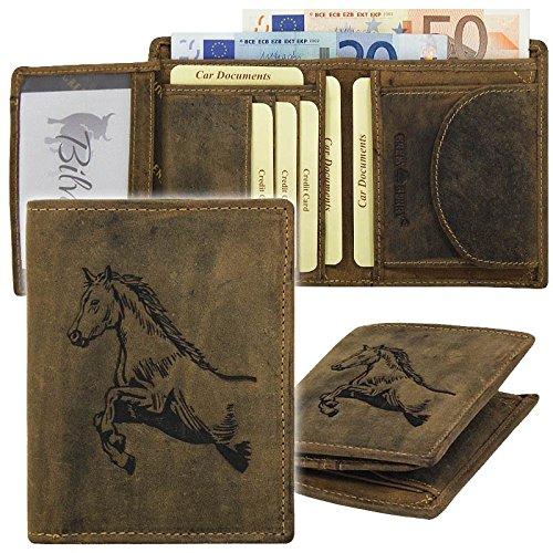 GreenBurry Geldbörse mit Tier-Motiv aus Rind-Leder Scheintasche Geldbeutel 1701 Pferd Horse -
