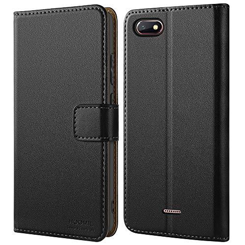 HOOMIL Handyhülle für Xiaomi Redmi 6A Hülle, Premium PU Leder Flip Schutzhülle für Xiaomi Redmi 6A Tasche, Schwarz