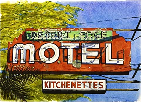 Wood print 40 x 30 cm: Desert Edge Motel, 2006 by Lucy Masterman / Bridgeman Images