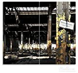 Wallario Herdabdeckplatte / Spritzschutz aus Glas, 2-teilig, 60x52cm, für Ceran- und Induktionsherde, Verlassene alte Fabrik-Halle mit leuchtenden Sonnenstrahlen