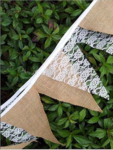 en Wimpel DIY handgemachte Jute Stoff Banner Vintage Flaggen Weihnachtsferien Hochzeit Party-Pull-Flagge (Stoff-banner Diy)
