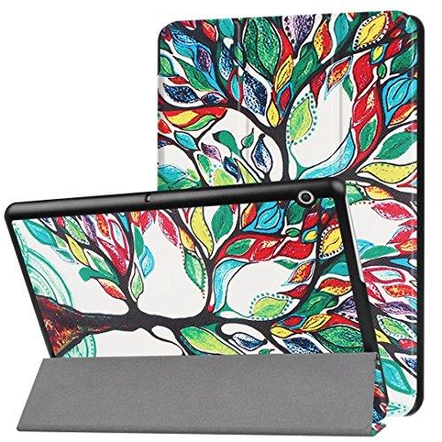 XITODA Huawei MediaPad T3 10.0 Hülle,Ultra Slim PU Leder Etui Tasche mit Stand Funktion Hülle für Huawei MediaPad T3 10 LTE/WiFi 2017 Tablet Case Cover Schutzhülle(Fröhlicher Baum) - Media Stand