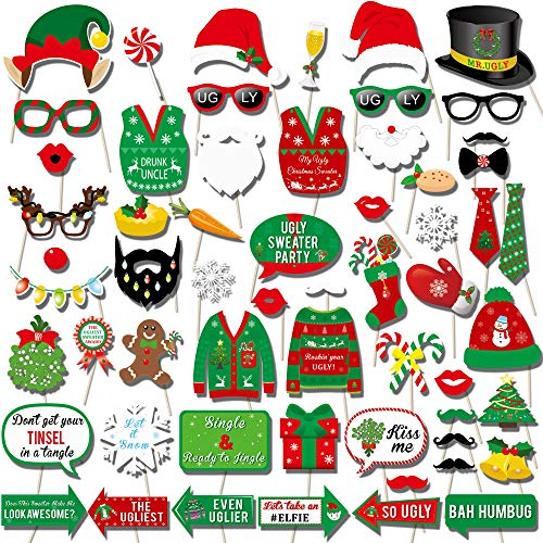 Howaf 59 Stück Weihnachten Photo Booth Props Kit Foto Requisiten Foto Accessoires Weihnachten für lustige Bilder Party Zubehör für Weihnachts Party Dekoration