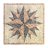 Divero HF55577 Fliesen Rosone Windrose Naturstein Mosaik Marmor dekorativ Creme-grau-rosé 120 x 120 cm, rosè