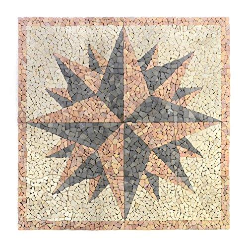 Marmor Mosaik-fußboden-fliese (Divero HF55577 Fliesen Rosone Windrose Naturstein Mosaik Marmor dekorativ creme-grau-rosé 120 x 120 cm, rosè)