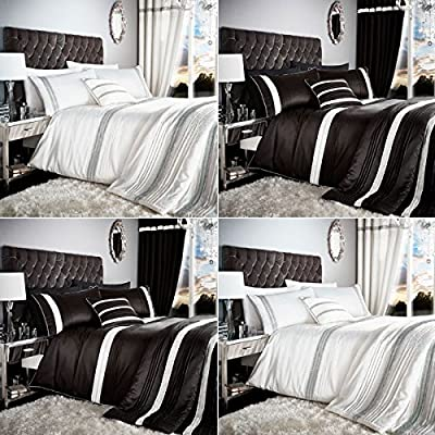 Catherine Lansfield Glamorous Diamante Bands Duvet Cover/Bedspread/Curtains Set - low-cost UK light shop.