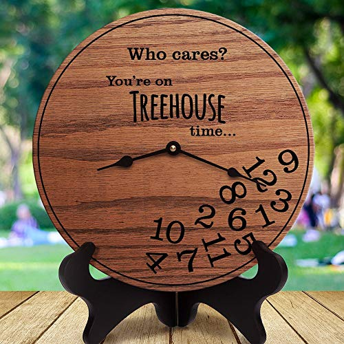mengliangpu8190 Funny Treehouse Gifts Who Cares You're On Treehouse Time Gifts for Treehouse Owners Treehouse Decor Tree House Clock Only 12
