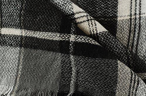 Ferand - Poncho Collo V Elegant Leggero Plaid Lavorato a maglia per l'Autunno - Donna Nero & Bianco