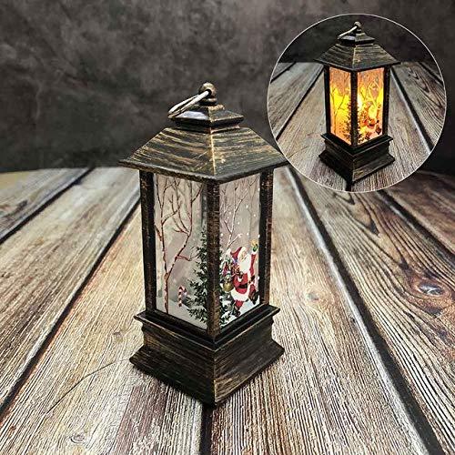 WAIYY Led-Leuchten Halloween Dekoration Weihnachten Hängen Prop Led Kerzen Licht Vintage Schloss Flederma Kürbis Laterne Flamme Lampe Partei LiefertBronze Santa -