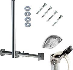 PremiumX Dachsparrenmasthalter 120cm Mast Verstellbar Dachsparrenhalter Sparrenhalter für Dachmontage + Mastkappe ALU mit Kabelführung inkl. Holzschrauben Set 4 tlg. 8x60mm