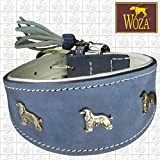 Woza Premium WINDHUND Halsband 6,8/47CM Afghan Vollleder Rindleder Nappa Handmade Greyhound Collar
